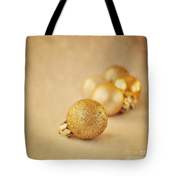 Gold Glittery Christmas Baubles Tote Bag by Lyn Randle