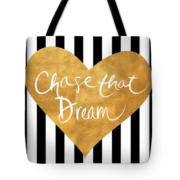 Gold Heart On Stripes II Tote Bag