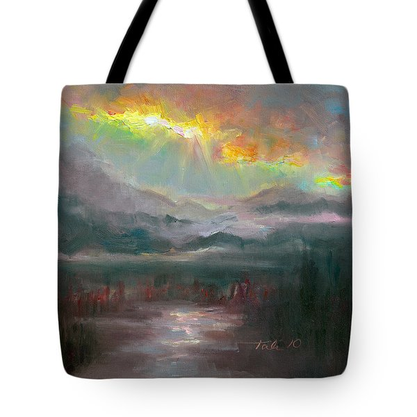 Gold Lining - Chugach Mountain Range En Plein Air Tote Bag by Talya Johnson