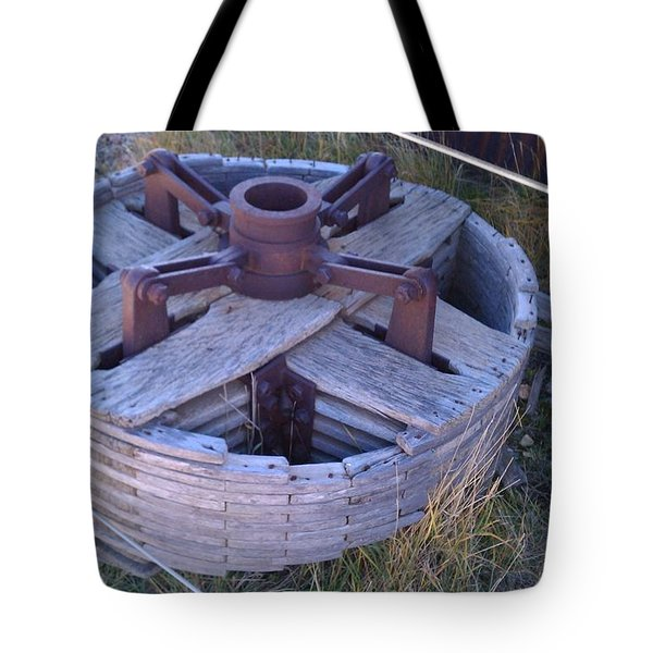 Tote Bag featuring the photograph Gold Mine Pulley by Fortunate Findings Shirley Dickerson