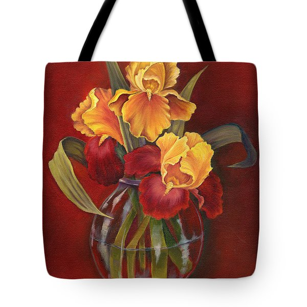 Gold N Red Iris Tote Bag