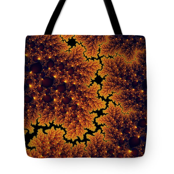 Golden And Black Fractal Universe Tote Bag