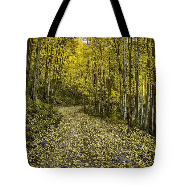 Golden Aspen Road Tote Bag