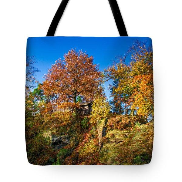 Golden Autumn On Neurathen Castle Tote Bag