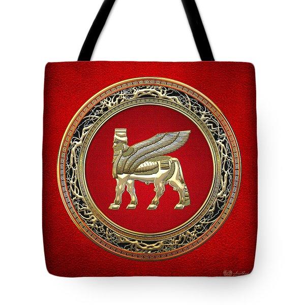 Golden Babylonian Winged Bull  Tote Bag