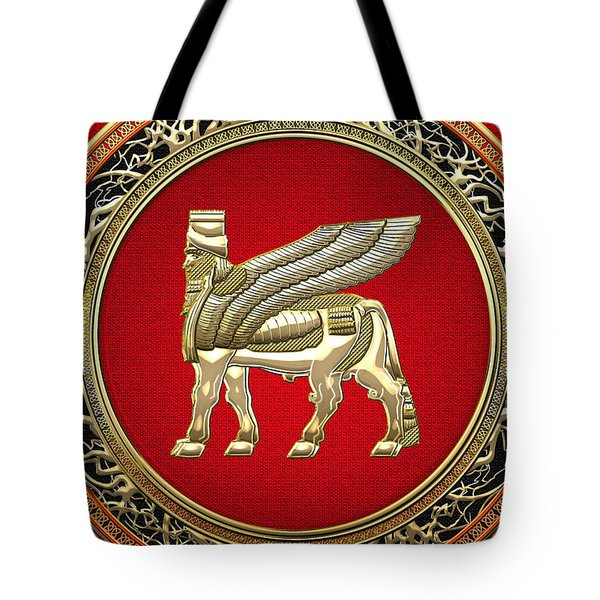 Golden Babylonian Winged Bull  Tote Bag