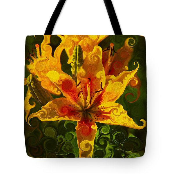 Tote Bag featuring the painting Golden Beauties by Omaste Witkowski