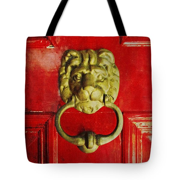 Tote Bag featuring the photograph Golden Brass Lion On Red Door by Brooke T Ryan
