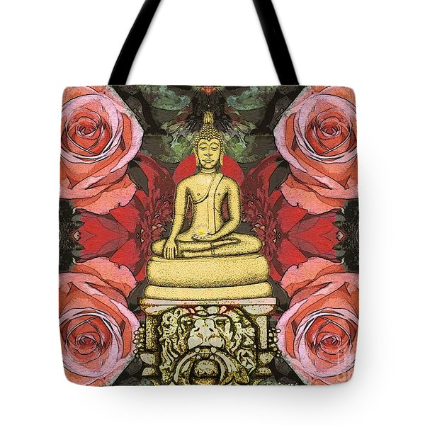 Tote Bag featuring the painting Golden Buddha In The Garden by Joseph J Stevens