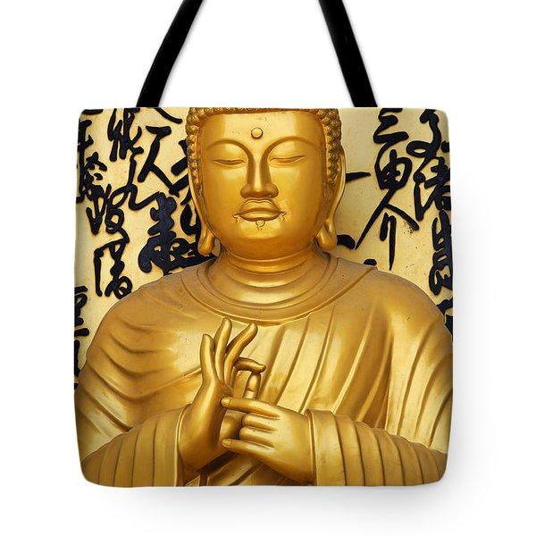 Golden Buddha Statue At The World Peace Pagoda Pokhara Tote Bag by Robert Preston