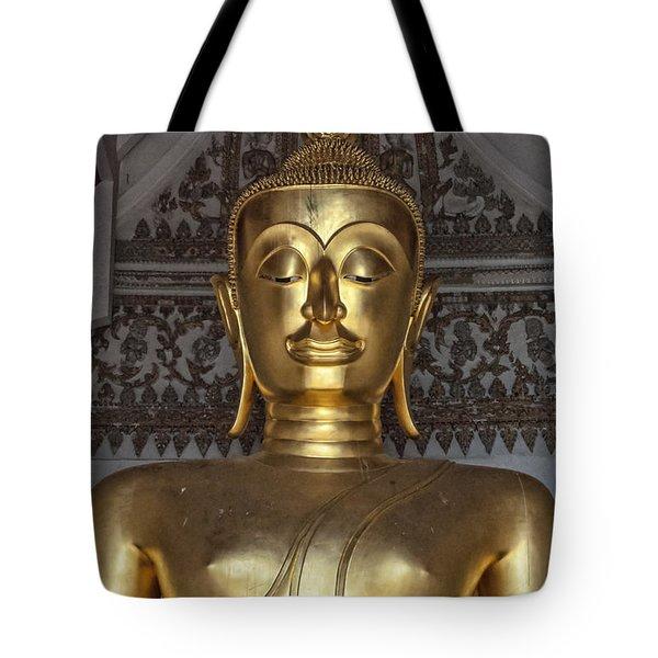 Golden Buddha Temple Statue Tote Bag by Antony McAulay