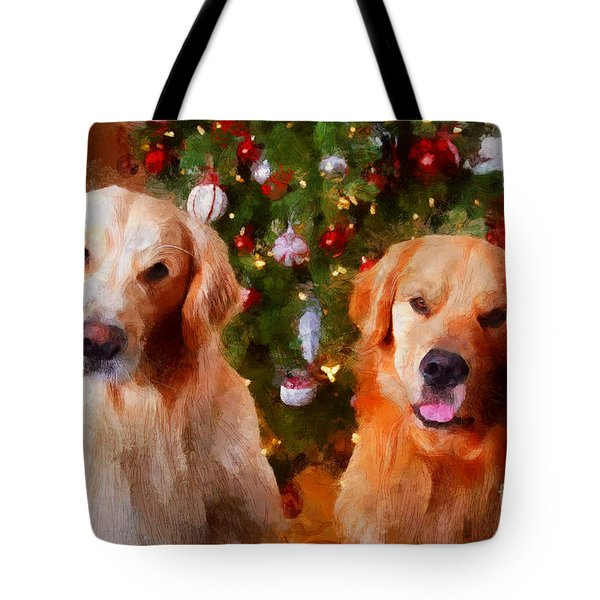 Golden Christmas Tote Bag