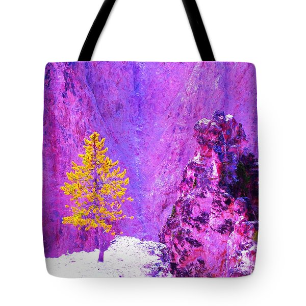 Golden Christmas In Yellowstone Tote Bag by Ann Johndro-Collins