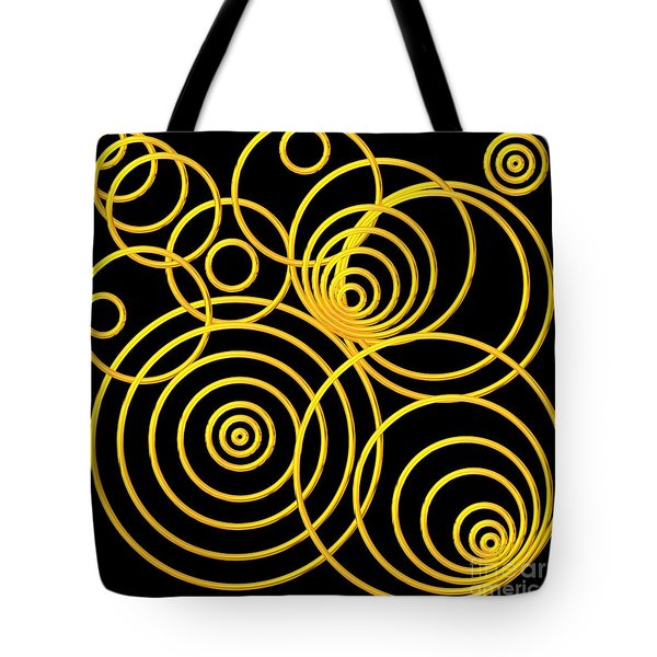 Golden Circles Optical Illusion Tote Bag by Rose Santuci-Sofranko