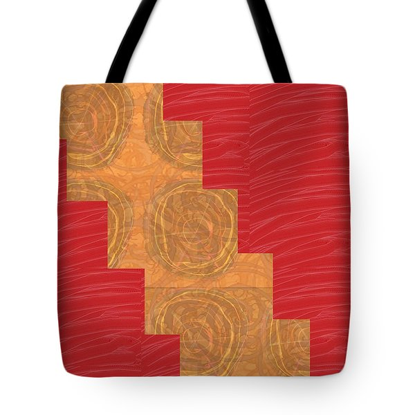 Tote Bag featuring the photograph Golden Circles Red Sparkle  by Navin Joshi