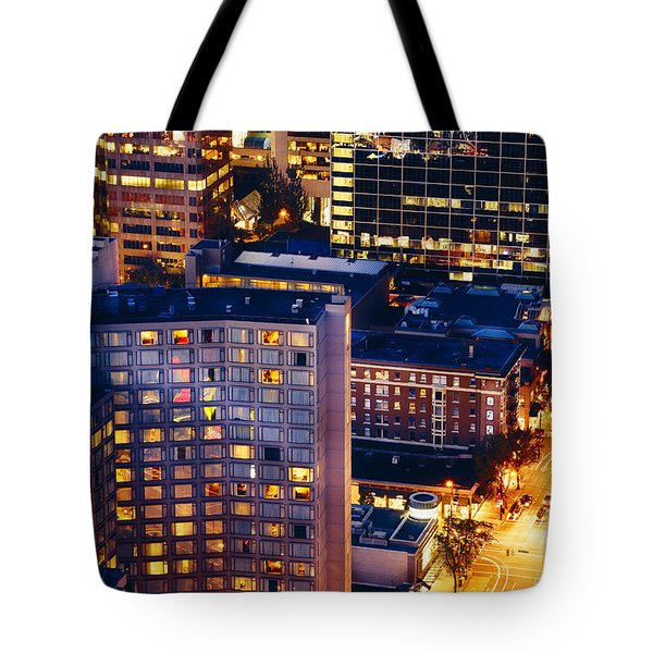 Tote Bag featuring the photograph Golden Cityscape Vancouver Mcccl by Amyn Nasser