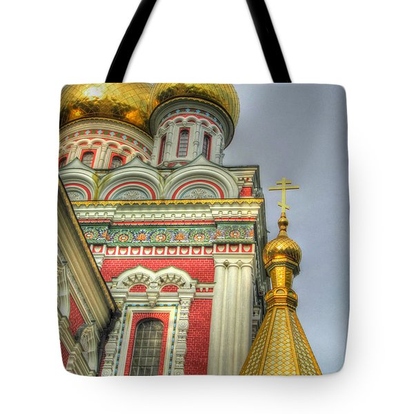 Golden Domes Of Russian Church Tote Bag by Eti Reid