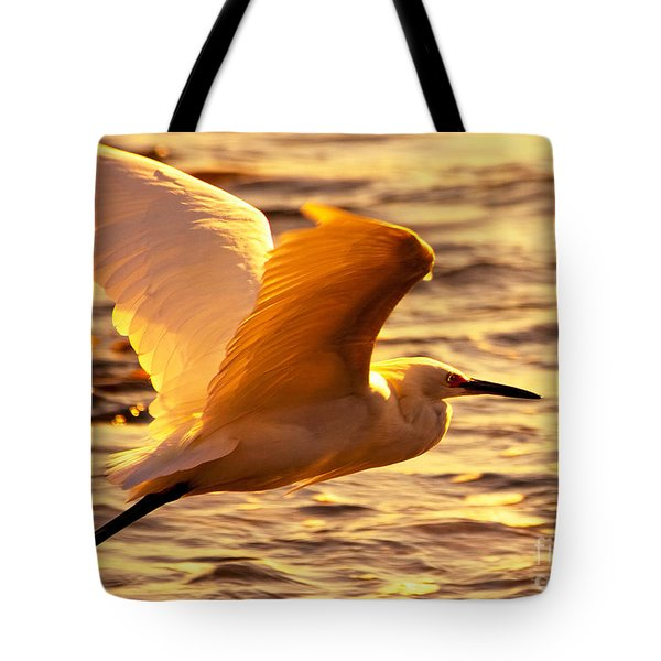Golden Egret Bird Nature Fine Photography Yellow Orange Print  Tote Bag by Jerry Cowart