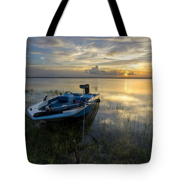 Golden Fishing Hour Tote Bag by Debra and Dave Vanderlaan