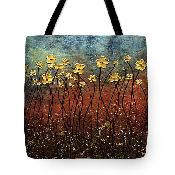 Golden Flowers Tote Bag