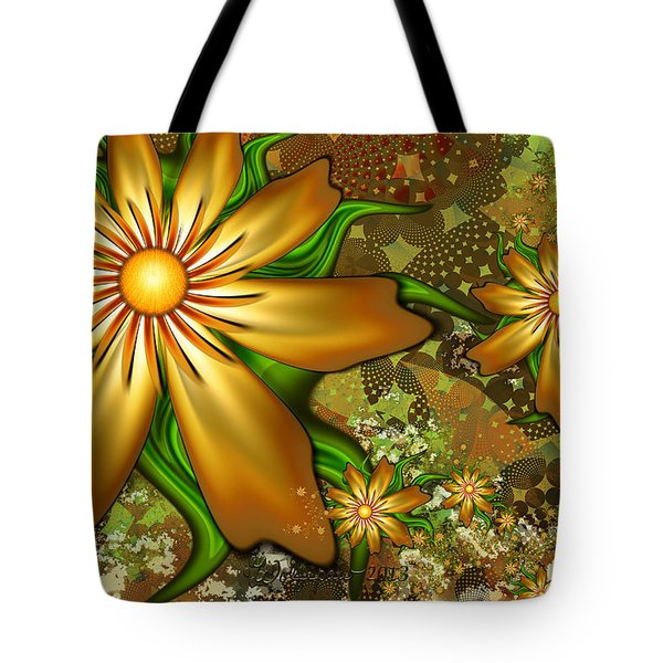 Golden Flowers Tote Bag by Peggi Wolfe