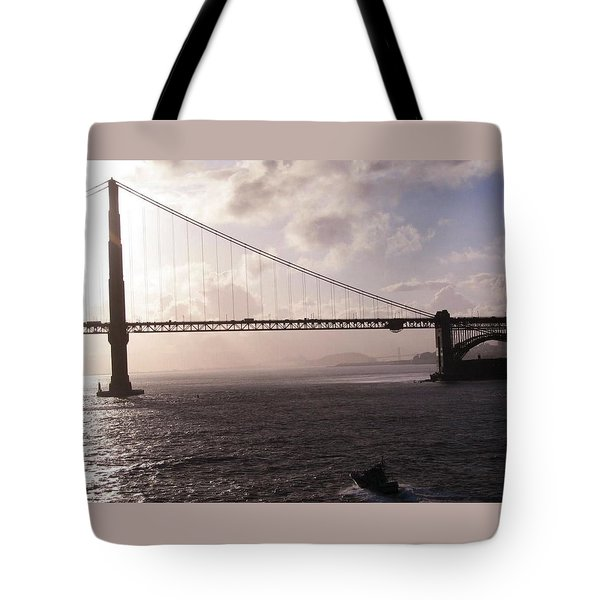 Golden Gate And Bay Bridge Tote Bag by Jay Milo