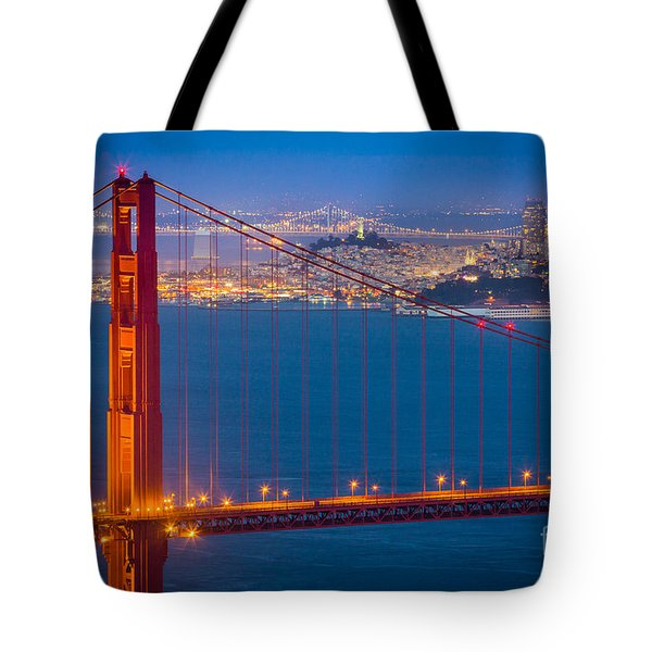 Golden Gate And San Francisco Tote Bag by Inge Johnsson