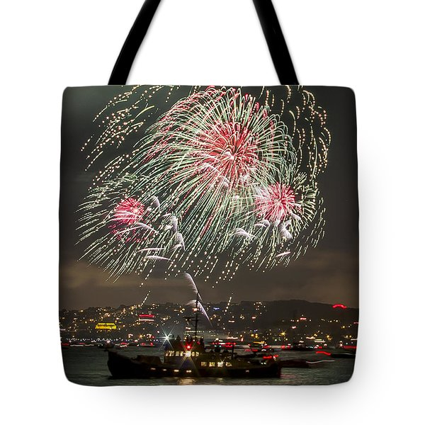 Golden Gate Bridge 75th Anniversary Fireworks 18 Tote Bag