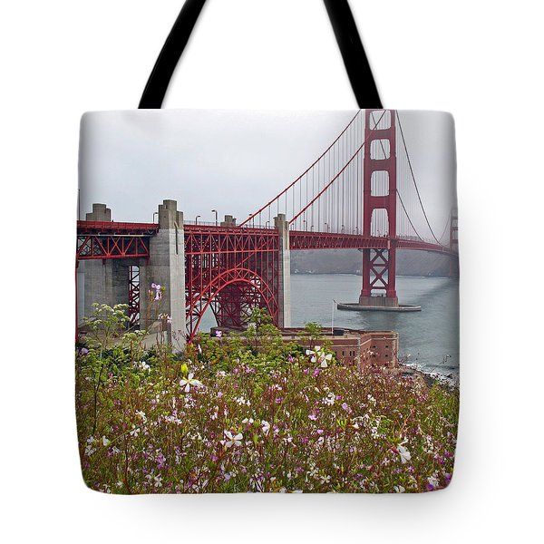 Golden Gate Bridge And Summer Flowers Tote Bag by Connie Fox