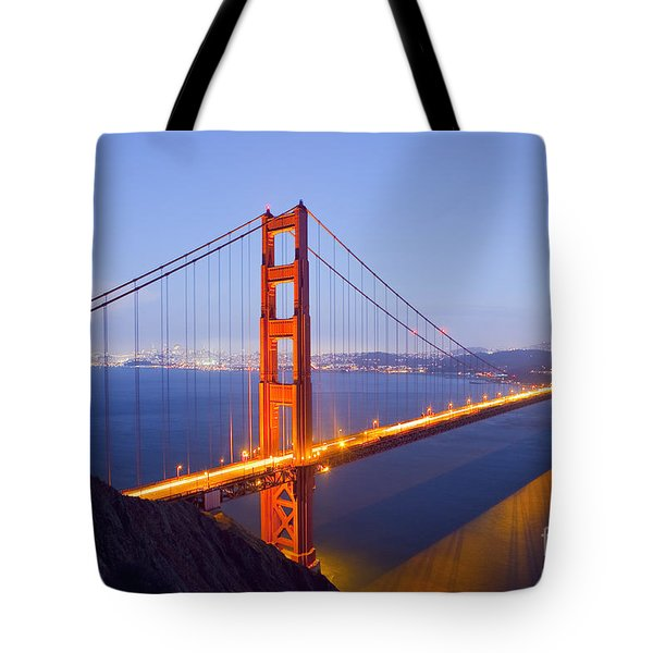 Golden Gate Bridge At Dusk Tote Bag