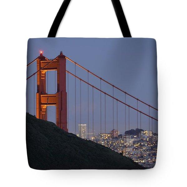 Golden Gate Bridge At Dusk Tote Bag
