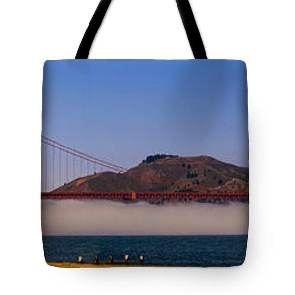 Golden Gate Bridge Over Fog Panorama Tote Bag