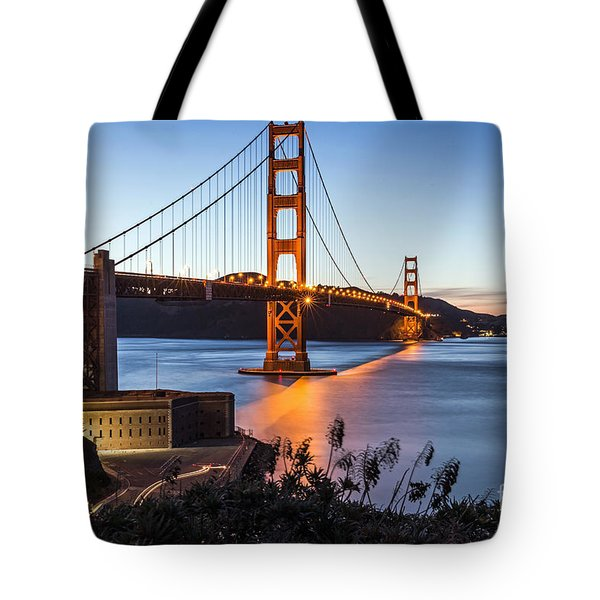 Tote Bag featuring the photograph Golden Gate Night by Kate Brown