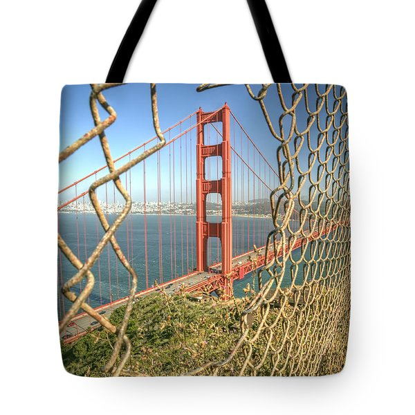 Golden Gate Through The Fence Tote Bag