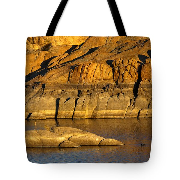 Golden Granite Glow Tote Bag by Mike  Dawson