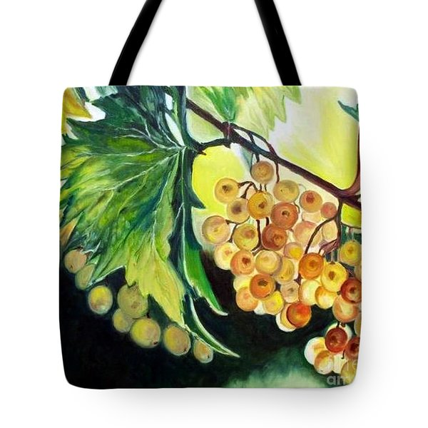 Tote Bag featuring the painting Golden Grapes by Julie Brugh Riffey