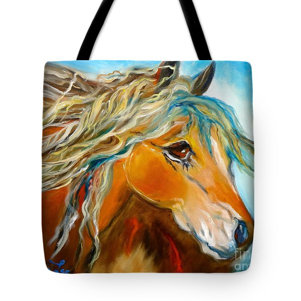 Tote Bag featuring the painting Golden Horse by Jenny Lee