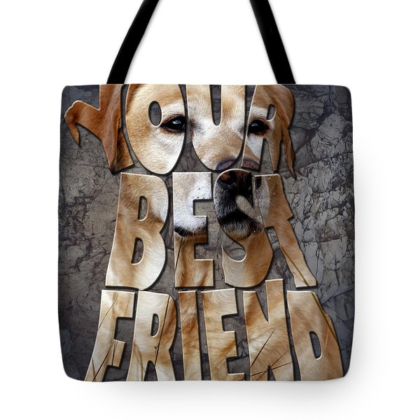 Golden Labrador Retriever Typography Art Tote Bag by Georgeta Blanaru