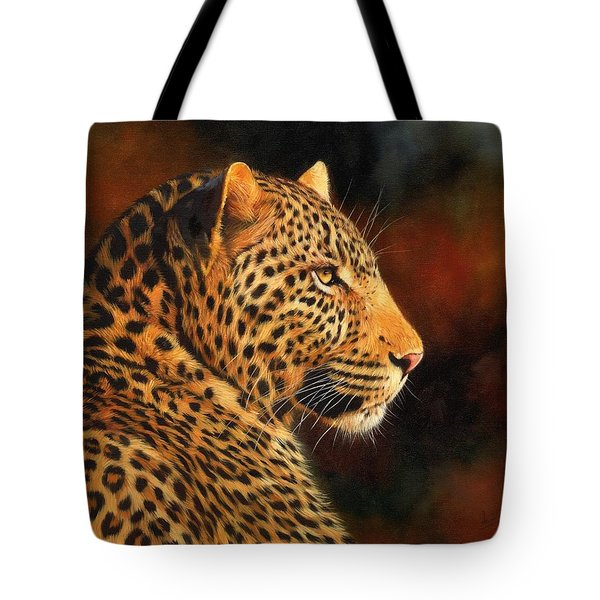 Golden Leopard Tote Bag by David Stribbling