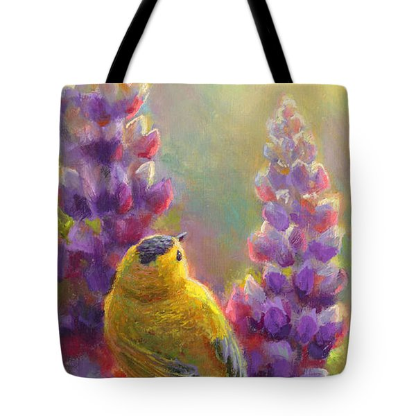 Golden Light 1 Wilsons Warbler And Lupine Tote Bag by Karen Whitworth