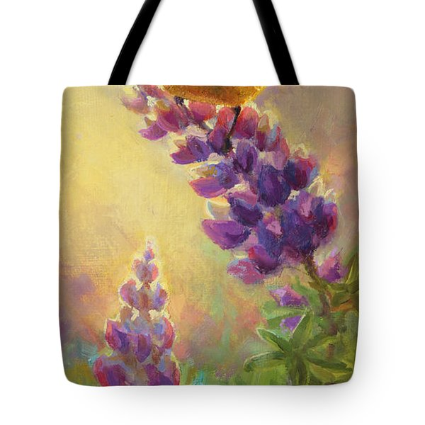 Golden Light 2 Wilsons Warbler And Lupine Tote Bag