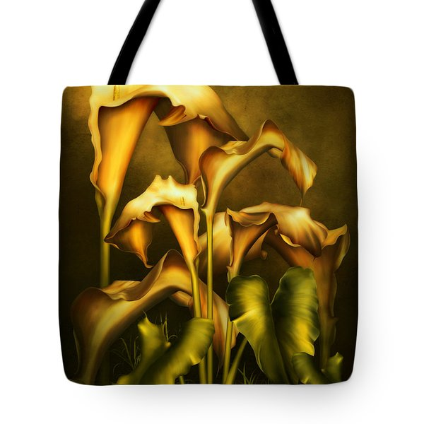 Tote Bag featuring the mixed media Golden Lilies By Night by Isabella Howard