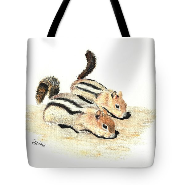 Golden-mantled Ground Squirrels Tote Bag by Lynn Quinn