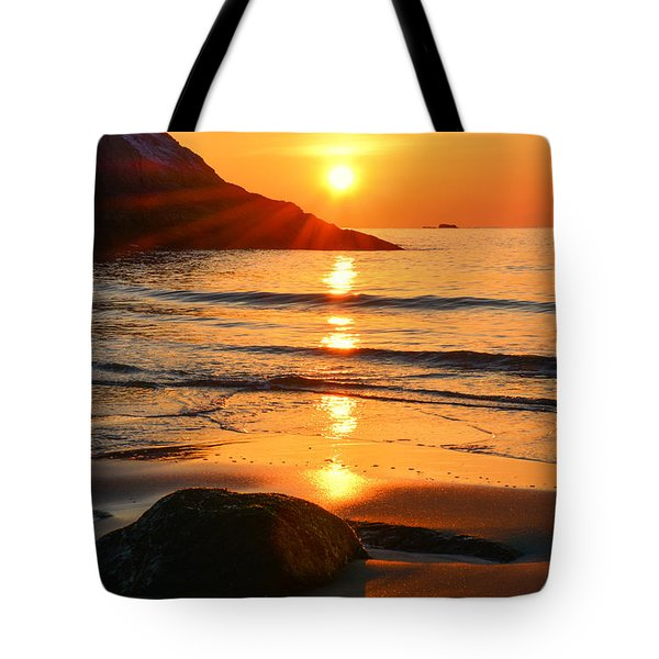 Tote Bag featuring the photograph Golden Morning Singing Beach by Michael Hubley