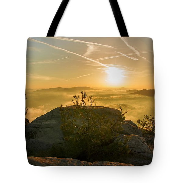 Golden Morning On The Lilienstein Tote Bag