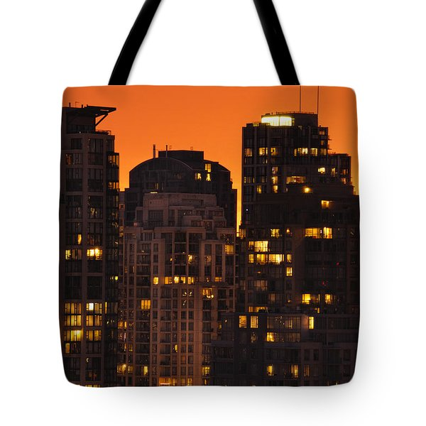 Tote Bag featuring the photograph Golden Orange Cityscape Dccc by Amyn Nasser
