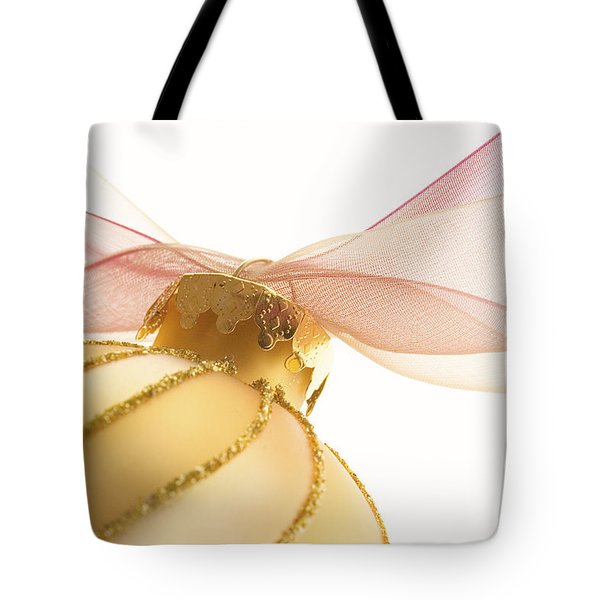 Golden Ornament With Red Ribbon High Key Tote Bag