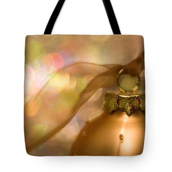 Golden Ornament With Ribbon Tote Bag
