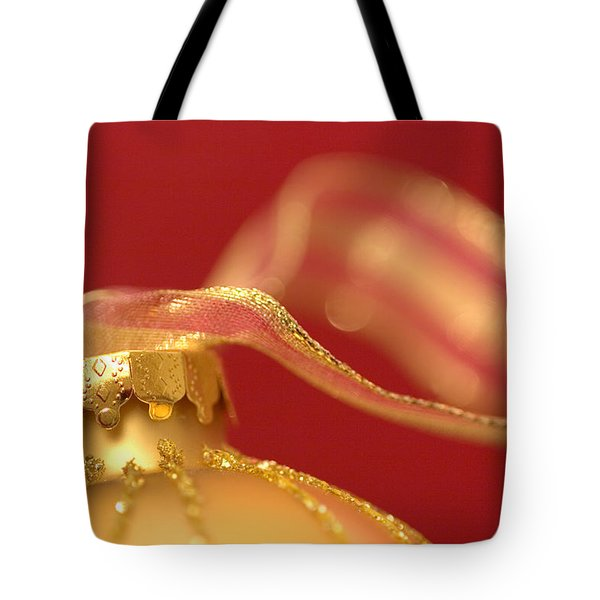 Golden Ornament With Striped Ribbon Tote Bag