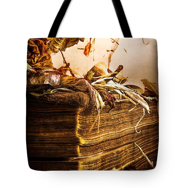 Golden Pages Falling Flowers Tote Bag by Bob Orsillo